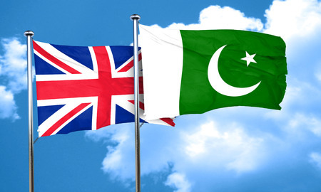 pakistani: Great britain flag with Pakistan flag, 3D rendering