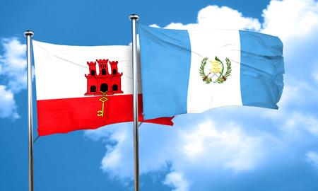 bandera de guatemala: Bandera de Gibraltar con la bandera de Guatemala, 3D