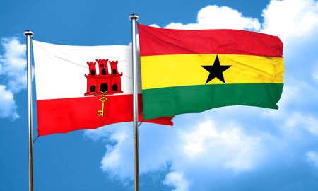 ghanese: gibraltar flag with Ghana flag, 3D rendering Stock Photo