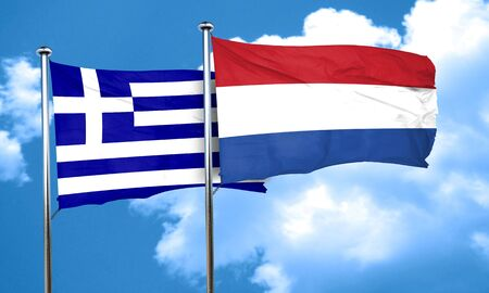 netherlands flag: Greece flag with Netherlands flag, 3D rendering