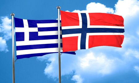 norway flag: Greece flag with Norway flag, 3D rendering