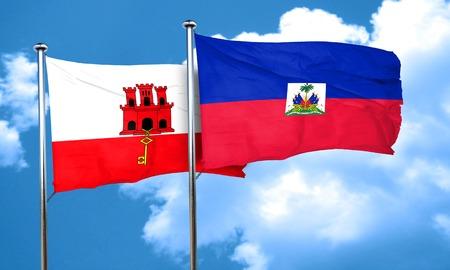 haiti: gibraltar flag with Haiti flag, 3D rendering