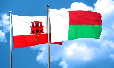 madagascar: gibraltar flag with Madagascar flag, 3D rendering