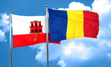 romania flag: gibraltar flag with Romania flag, 3D rendering