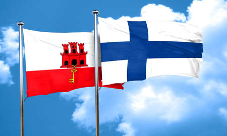 finland flag: gibraltar flag with Finland flag, 3D rendering Stock Photo