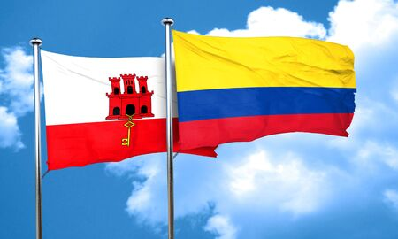 colombia flag: gibraltar flag with Colombia flag, 3D rendering