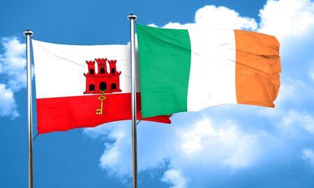ireland flag: gibraltar flag with Ireland flag, 3D rendering Stock Photo