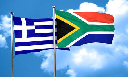 south africa flag: Greece flag with South Africa flag, 3D rendering Stock Photo