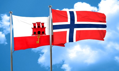 norway flag: gibraltar flag with Norway flag, 3D rendering