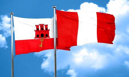 bandera de peru: Bandera de Gibraltar con la bandera de Perú, 3D