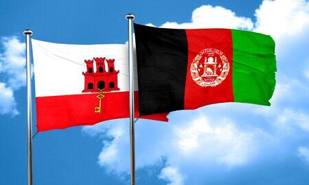 afghanistan flag: gibraltar flag with afghanistan flag, 3D rendering