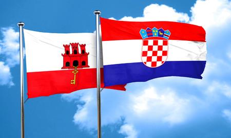bandera croacia: gibraltar flag with Croatia flag, 3D rendering Foto de archivo