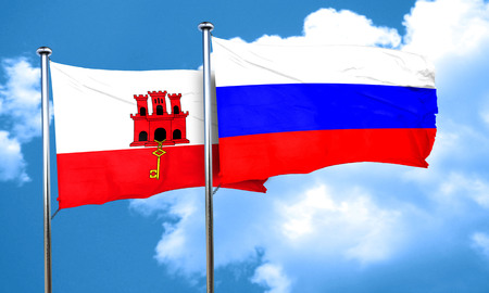russia flag: gibraltar flag with Russia flag, 3D rendering Stock Photo