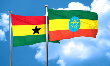 ghanese: Ghana flag with Ethiopia flag, 3D rendering Stock Photo
