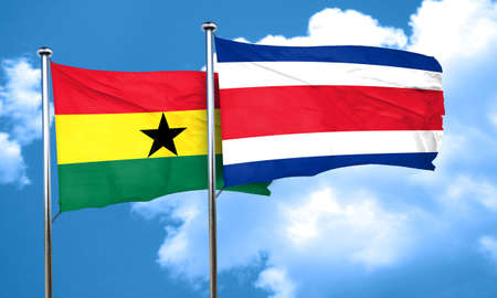ghanese: Ghana flag with Costa Rica flag, 3D rendering
