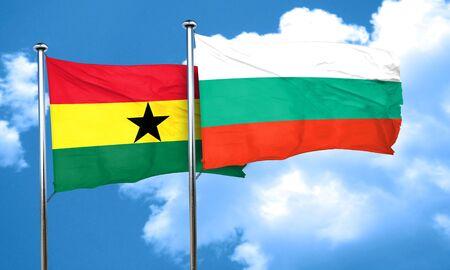 ghana: Ghana flag with Bulgaria flag, 3D rendering