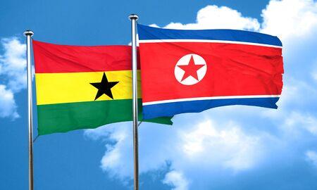 korea flag: Ghana flag with North Korea flag, 3D rendering