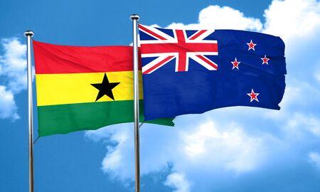 ghanese: Ghana flag with New Zealand flag, 3D rendering Stock Photo