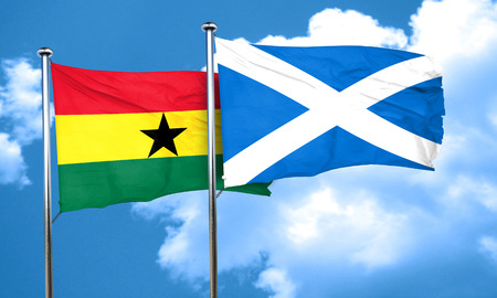 scotland: Ghana flag with Scotland flag, 3D rendering Stock Photo