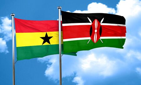 kenya: Ghana flag with Kenya flag, 3D rendering Stock Photo