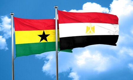 ghana: Ghana flag with egypt flag, 3D rendering