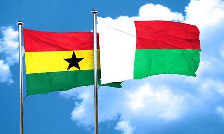ghanese: Ghana flag with Madagascar flag, 3D rendering