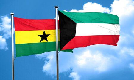 ghanese: Ghana flag with Kuwait flag, 3D rendering