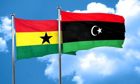 ghanese: Ghana flag with Libya flag, 3D rendering Stock Photo