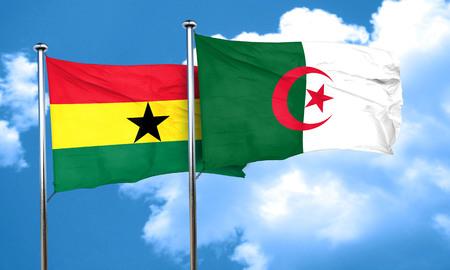ghanese: Ghana flag with Algeria flag, 3D rendering Stock Photo