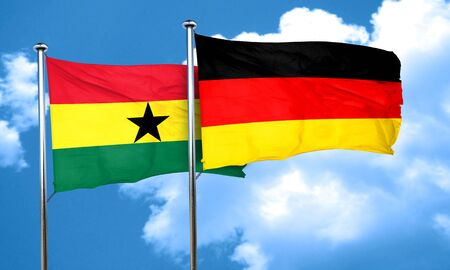 ghanese: Ghana flag with Germany flag, 3D rendering
