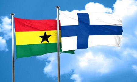 ghanese: Ghana flag with Finland flag, 3D rendering