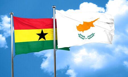 ghanese: Ghana flag with Cyprus flag, 3D rendering