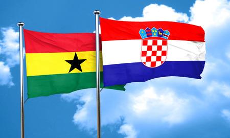 ghanese: Ghana flag with Croatia flag, 3D rendering
