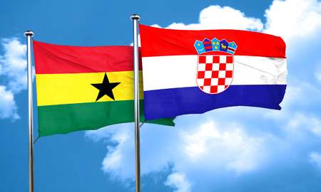 croatia flag: Ghana flag with Croatia flag, 3D rendering