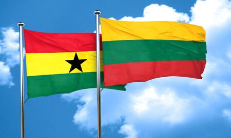 ghanese: Ghana flag with Lithuania flag, 3D rendering Stock Photo