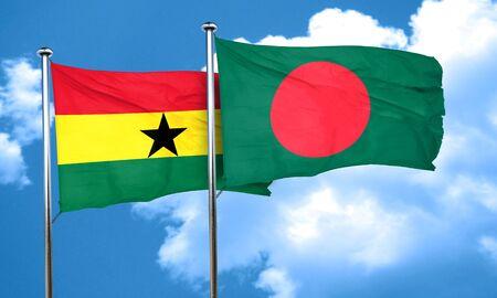 ghanese: Ghana flag with Bangladesh flag, 3D rendering