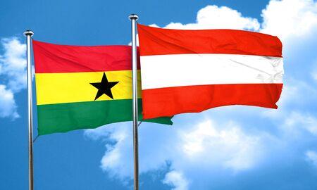 ghanese: Ghana flag with Austria flag, 3D rendering