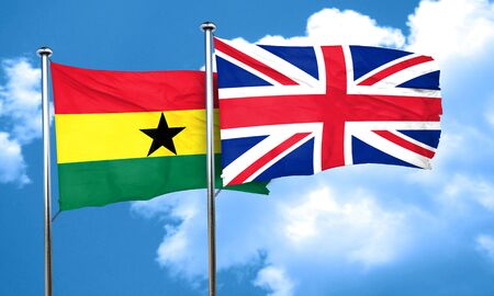 ghanese: Ghana flag with Great Britain flag, 3D rendering Stock Photo