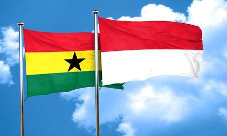 ghanese: Ghana flag with Indonesia flag, 3D rendering