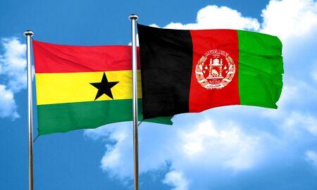 afghanistan flag: Ghana flag with afghanistan flag, 3D rendering Stock Photo