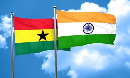 india 3d: Ghana flag with India flag, 3D rendering