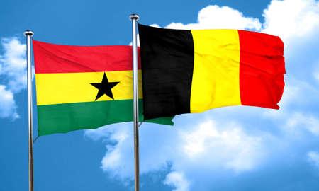 ghanese: Ghana flag with Belgium flag, 3D rendering