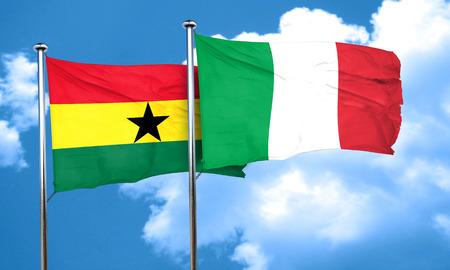ghanese: Ghana flag with Italy flag, 3D rendering Stock Photo