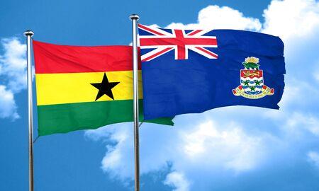 ghanese: Ghana flag with Cayman islands flag, 3D rendering