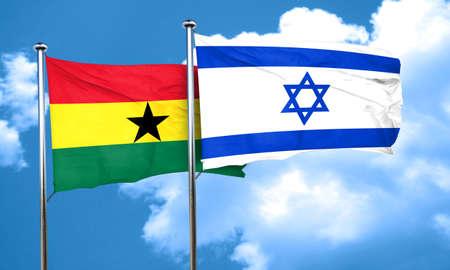 ghanese: Ghana flag with Israel flag, 3D rendering