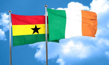 ireland flag: Ghana flag with Ireland flag, 3D rendering Stock Photo