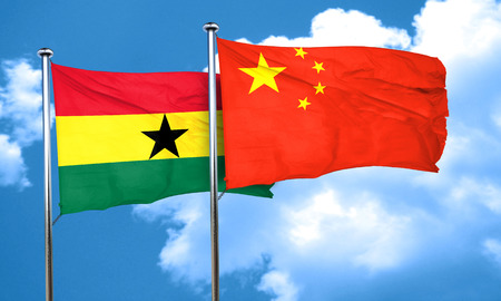 ghanese: Ghana flag with China flag, 3D rendering Stock Photo