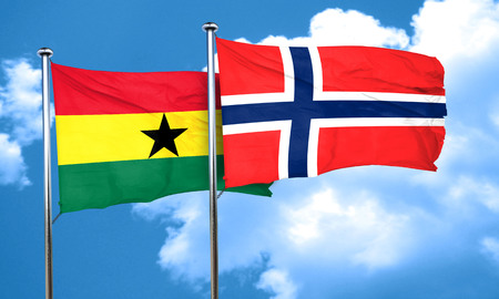 norway flag: Ghana flag with Norway flag, 3D rendering Stock Photo