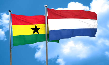 ghanese: Ghana flag with Netherlands flag, 3D rendering