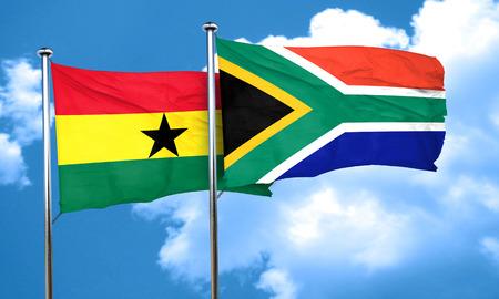 ghanese: Ghana flag with South Africa flag, 3D rendering